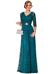 Formal Evening Dress - Vintage Inspired A-line V-neck Floor-length Lace with Lace Pearl Detailing