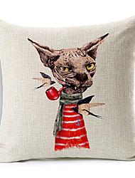 Cartoon Smoking Dog Cotton/Linen Decorative Pillow Cover