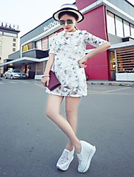 Women Casual Mesh  Grille Cloth printing dress (Acrylic)