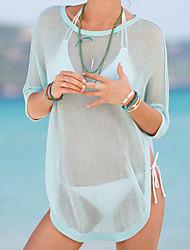 Women's Light Green High-low Hemline Sheer Beachwear