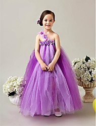 A-line Tea-length Flower Girl Dress - Tulle One Shoulder with Flower(s) Sash / Ribbon Pleats