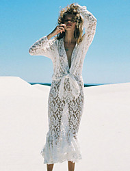 Women's Sheer Lace Long-sleeve Mermaid Maxi Dress