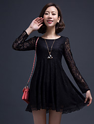 Women's Lace Dress , Vintage/Sexy/Casual/Lace Long Sleeve Lace