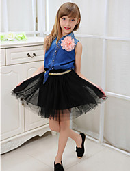 Girl's Summer/Spring/Fall Micro-elastic Sheer Skirts (Cotton Blends/Mesh)