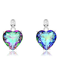Classic Heart Fire Rainbow Mystic Topaz Gem 925 Silver Necklaces Pendants For Wedding Party Daily Casual Holiday 1pc