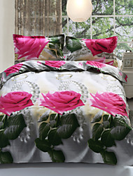 3D Fashion Comfortable Floral Print Bedding Four Piece