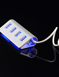 4 Ports LED USB HUD Splitter USB Port High-Speed Aluminium Power-Bus For Computer Peripherals