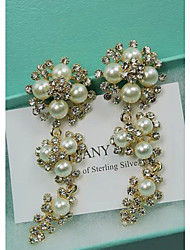 Exaggeration drop bride long big pearl earrings
