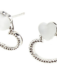 Double Heart White Silver Earrings