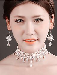Bride  New Wedding White Pearl  Diamond Noble Flower Earring Necklace Set