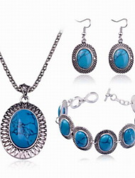 Fashion Women Alloy/Turquoise Earrings Necklaces Bangles Sets Causal Daily