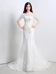 Trumpet/Mermaid Wedding Dress-Sweep/Brush Train Strapless Lace / Tulle
