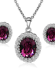 T&C Women's Elegant Cz Diamond Jewelry 18K White Gold Pated Amethyst Purple Crystal Pendants Necklaces Earrings Sets