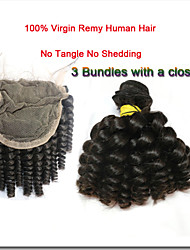 "4Pcs/Lot 12""-30""Hair Weaving With Closure Natural Color With Bit Brown Malaysian Baby Curly"