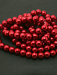 Beadia 2 Str(approx 230pcs) Glass Beads 8mm Round Imitation Pearl Beads Red Color DIY Spacer Loose Beads