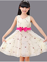 2015 Summer Floral Princess Dress with Bow Belt