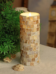 SIMPLUX 3*8 Inch Moving Wick Square Shells Mosaic Glass With Flameless LED Candle with Timer,Work with 2xC Batteries