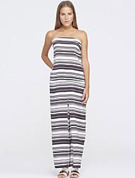 Women's Holiday Fashion Black White Stripes Maxi Dress