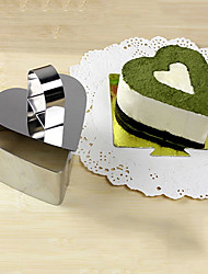 3''Mousse Tool Set of Love Heart Mousse Ring with Push Handle Cheese Cake Mold Stainless Steel
