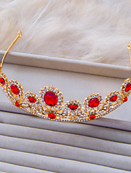 Vintage Hairbands Style Gold Color With Red Cubic Zirconia And White Rhinestone Wedding Tiara A1069E