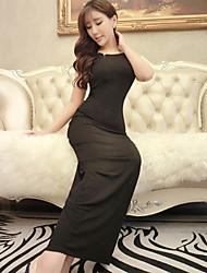 Women's Black/Multi-color Dress , Sexy Sleeveless