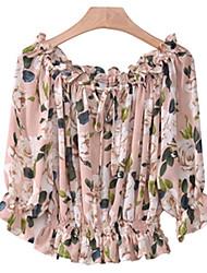 Kaman Women's Sexy/Beach/Casual ½ Length Sleeve Tops & Blouses (Chiffon)