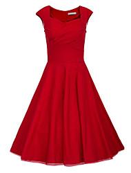 Para Women's Vintage/Sexy/Bodycon/Casual/Party 1950 Retro Rockabilly Dresses (Cotton Blend)