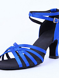 Women's Dance Shoes Latin Satin Cuban Heel Black/Blue/Yellow