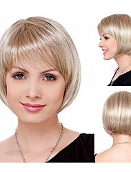 Natural Chic bob hair cuts Synthetic wigs for women Short Straight Blonde Full wigs with bangs