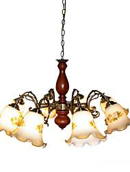 BOXOMIYA® American country fir Camellia 8 head chandelier chandelier Garden Room Restaurant European lighting