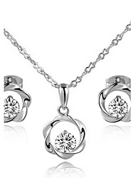 T&C Women's Concise 18k White Gold Plated Clear Simulated Diamond Crystal Wind Wheel Pendant Necklace Earrings Set