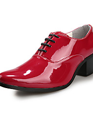 Top.1 Men's Shoes White/Black/Red Low Heel Flat Oxfords (Patent Leather)
