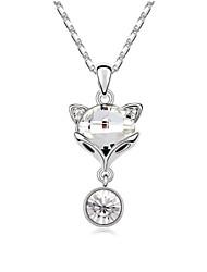 poco collar corto de zorro plateado con platino verdadero 18k clara cristalizadas piedras de cristal austríaco