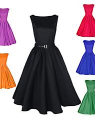 Robes ( Coton/Polyester ) Soirée Rond à Sans manche pour Femme