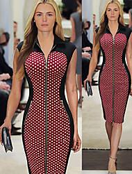 Luoluo Women's Print Tailored Collar Short Sleeve Dresses (Cotton Blend)