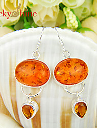 Drop Earrings Gem Silver Plated Amber Jewelry Wedding Party Daily Casual 2pcs