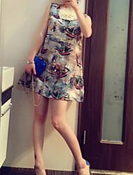 De las mujeres Recto Vestido Casual Mini Escote Redondo Organza
