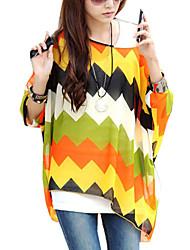 Women Geometric Print Batwing Sleeve Semi Sheer Blouses Tops Clothes