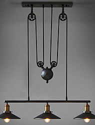 American Country Wrought Iron Chandelier, Industrial Wind Pendant 3 Lights Bulb Included