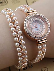 petit cadran rond de cristal bracelet en perles bande de quartz montre de mode poignet des femmes
