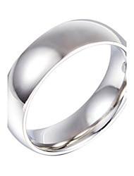 Fashion Stainless Steel Silver Plated Smooth Men Women Finger Ring(1PC)