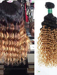 "3 Pcs Lot 8""-28"" Brazilian Virgin Hair Ombre #27 Deep Wave Brazilian Curly Human Hair Bundles"