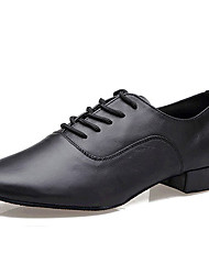 Non Customizable Men's Dance Shoes Latin Leather Low Heel Black
