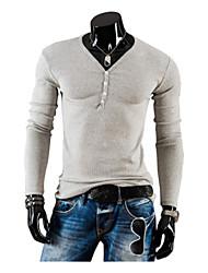 Informeel Rond - MEN - T-shirts ( Katoen/Katoenmengeling )met Lange Mouw
