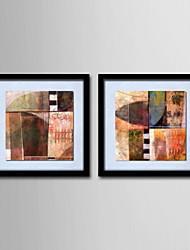 peinture à l'huile abstraite décoration main toile peinte avec étiré encadrée - ensemble de 2