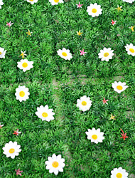 1PCS Artificial Lawn Simulation Grass with White Flowers Home / Garden Decor (25*25cm)