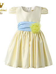 Girl Yellow Satin Soutache Pleated Waist Holiday Dress