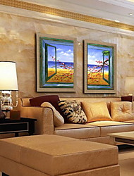 Oil Painting Decoration Abstract Landscape  Hand Painted Natural Linen with Stretched Framed - Set of 2
