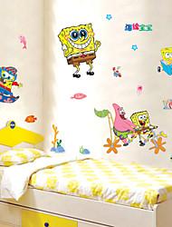 stickers muraux stickers muraux, spongebob squarepants de bande dessinée plage enfants chambre mur de PVC autocollants