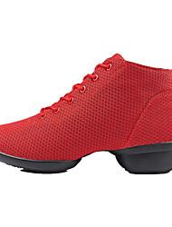 Non Customizable Women's Dance Shoes Dance Sneakers/Modern/Gymnastics Fabric Chunky Heel Black/Red